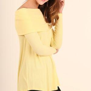 Umgee Ladies Long Sleeve Yellow Cowl Neck Tunic